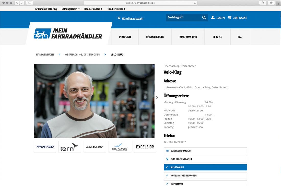 Online-Shop VELO-KLUG Oberhaching